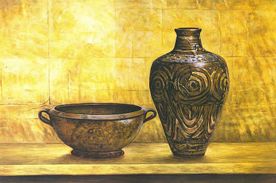 Bowl And Flower Pot Canvas Prints Art Print by Canvas Champ