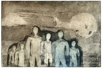 Painting -  Breed Of People - Kind Of People - Etching - Group - Etching - Fine Art Print - Stock Image by Urft Valley Art