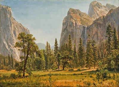Yosemite Painting -  Bridal Veil Falls Yosemite Valley California by Albert Bierstadt