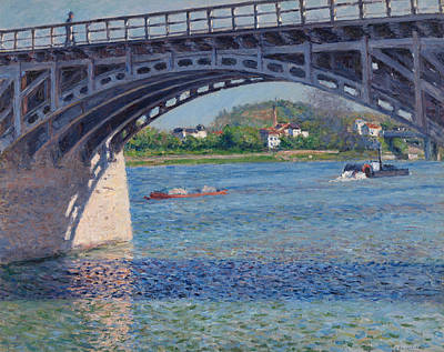 Gustave Painting -  Bridge At Argenteuil And The Seine by Gustave Caillebotte