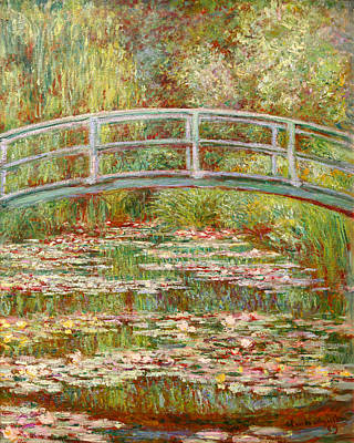 Bridge Over A Pond Of Water Lilies Art Print by Claude Monet