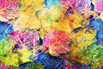 Bright- Colorful Fall Leave Abstract Art Print by Judy Palkimas