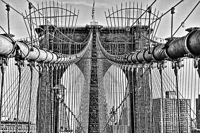 Photograph -  Brooklyn Bridge 3 Mono by Steve Purnell
