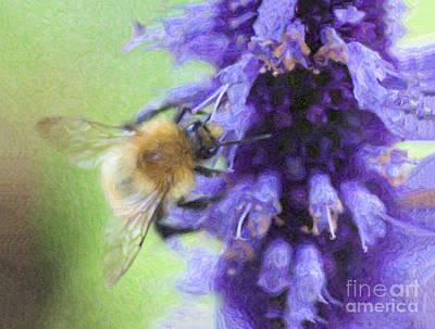 Bee Digital Art -  Bumblebee On Buddleja by Liz Leyden