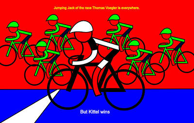 Digital Art -  But Kittel Wins Stage 4 by Asbjorn Lonvig