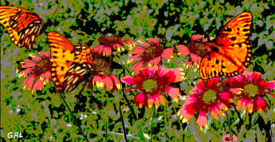 Painting -  Butterflies And Wildflowers Florida Contemporary Digital Art by G Linsenmayer