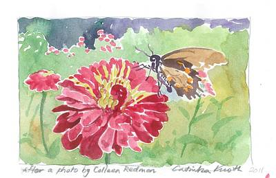 Painting -  Butterfly Sips Nectar Zinnia Garden by Catinka Knoth