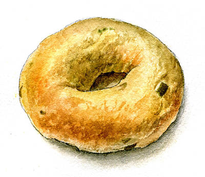 Painting -  Cafe Steve's Jalapeno Cheddar Bagel by Logan Parsons