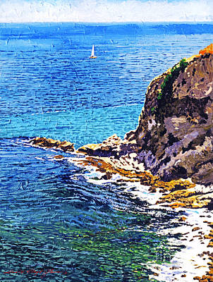 Sailboat Ocean Painting -  California Coastline  by David Lloyd Glover