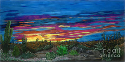 Art Print featuring the painting  California Desert Sunset by Gary Brandes