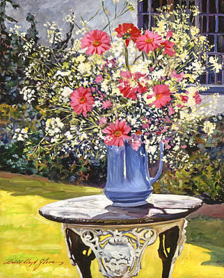 Outdoor Still Life Painting -  Camille's Garden Bouquet by David Lloyd Glover