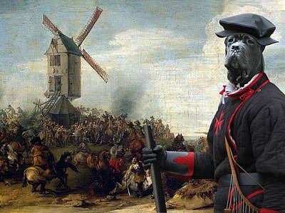 Painting -  Cane Corso Art Canvas Print - Battle By The Windmill by Sandra Sij