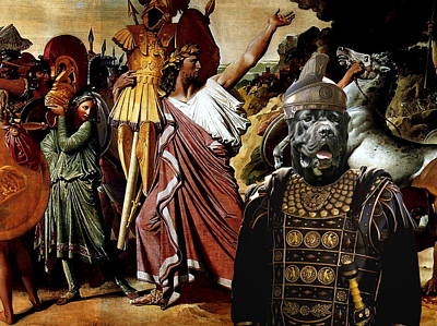 Painting -  Cane Corso Art Canvas Print - Romulus And Legionars by Sandra Sij