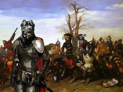 Painting -  Cane Corso Art Canvas Print - Swords And Bravery by Sandra Sij