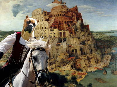 Painting -  Cane Corso Art Canvas Print - The Tower Of Babel by Sandra Sij