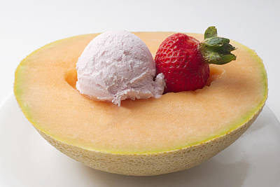 Cantaloupe With Ice Cream And Strawberry Art Print