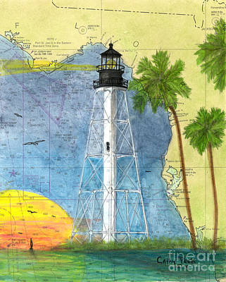 Cape Florida Lighthouse Painting -  Cape San Blas Lighthouse Fl Nautical Chart Map  by Cathy Peek