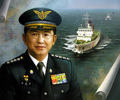 Korean Painting -  Captain Korea by Yoo Choong Yeul