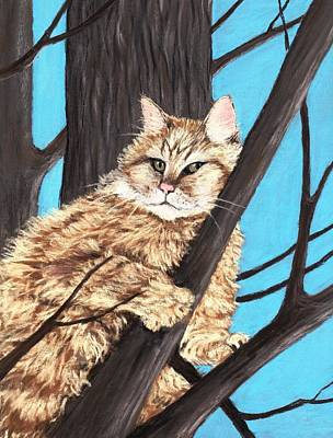 Cat Painting -  Cat On A Tree by Anastasiya Malakhova