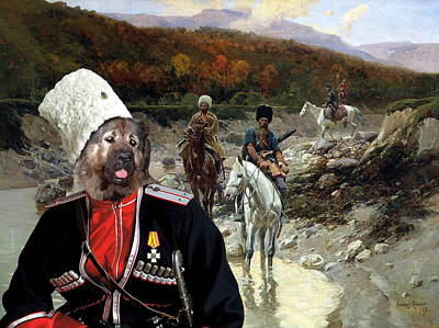Painting -  Caucasian Shepherd Dog - Caucasian Ovcharka Art Canvas Print - Cossack Patrol by Sandra Sij