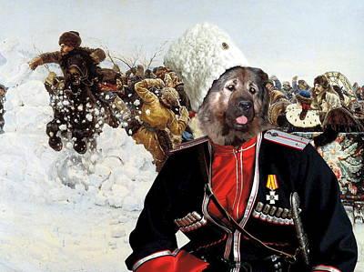 Painting -  Caucasian Shepherd Dog - Caucasian Ovcharka Art Canvas Print - Entertainment Cossack by Sandra Sij