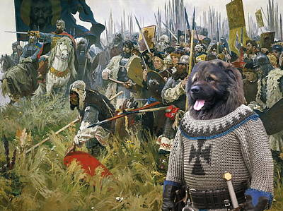 Painting -  Caucasian Shepherd Dog - Caucasian Ovcharka Art Canvas Print - Russian Pride And Glory by Sandra Sij