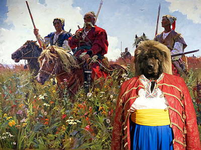 Painting -  Caucasian Shepherd Dog - Caucasian Ovcharka Art Canvas Print -taras Bulba by Sandra Sij