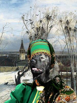 Painting -  Caucasian Shepherd Dog - Caucasian Ovcharka Art Canvas Print -the Winter Landscape by Sandra Sij