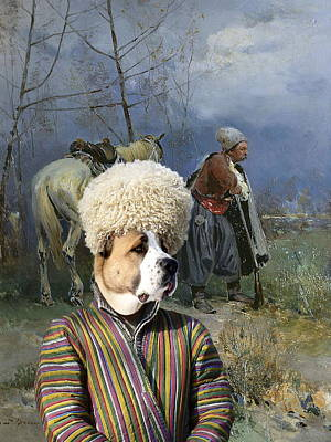 Painting -  Central Asian Shepherd Dog Art Canvas Print - Cossack Patrol  by Sandra Sij