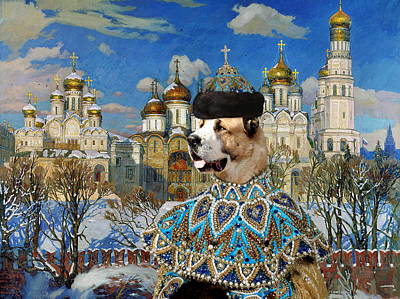 Painting -  Central Asian Shepherd Dog Art Canvas Print - Emperor With Golden Church by Sandra Sij