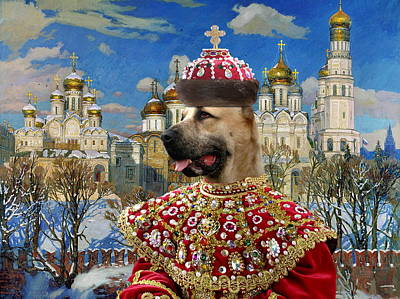 Painting -  Central Asian Shepherd Dog Art Canvas Print - Empress With Golden Church by Sandra Sij