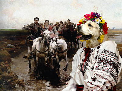 Painting -  Central Asian Shepherd Dog Art Canvas Print - Giddy Up by Sandra Sij