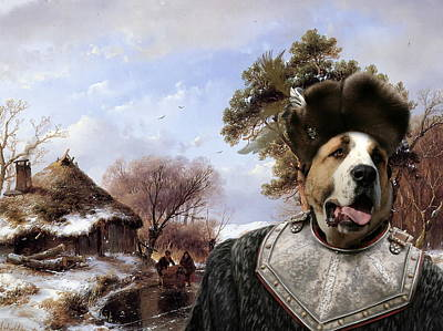 Painting -  Central Asian Shepherd Dog Art Canvas Print - Skaters On Canal by Sandra Sij