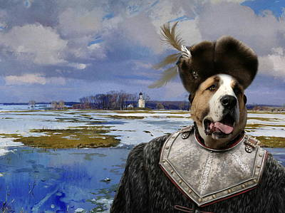 Painting -  Central Asian Shepherd Dog Art Canvas Print - The Russian Prince by Sandra Sij