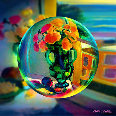 Vase Wall Art - Digital Art -  Cercle La Vie En Rose  by Robin Moline
