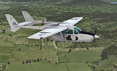 Digital Art -  Cessna 0-2a Skymaster by Walter Colvin