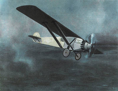 Charles Lindbergh Is The First  To Fly Art Print by Mary Evans Picture Library