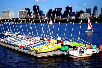 Photograph -  Charles River Sailboats Boston by Ronald Bartels