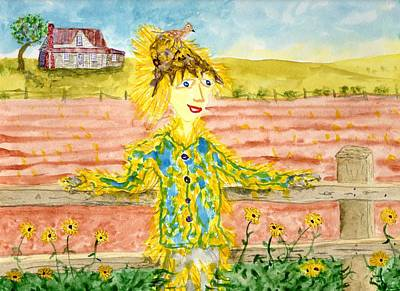 Painting -    Cheerful Scarecrow by Jim Taylor