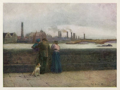Chelsea Embankment On A Grey Day Art Print by Mary Evans Picture Library