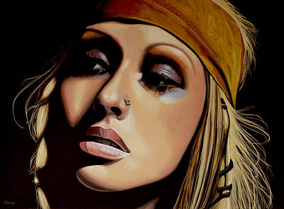 Burlesque Painting -  Christina Aguilera Painting by Paul Meijering