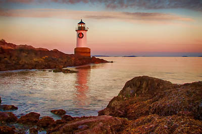 Photograph -  Christmas At Fort Pickering Lighthouse by Jeff Folger