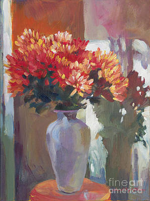 Floral Arrangement Painting -  Chrysanthemums In Vase by David Lloyd Glover