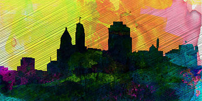Cincinnati Painting -  Cincinnati City Skyline by Naxart Studio