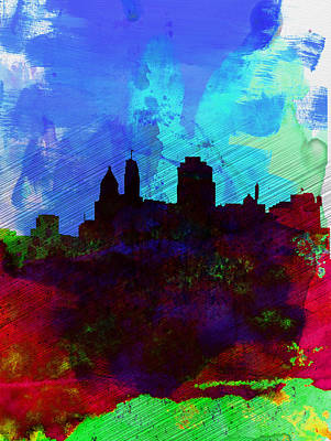 Architectural Painting -  Cincinnati Watercolor Skyline by Naxart Studio