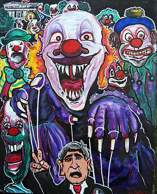 Trippy Painting -  Clown Running  White House by Ottoniel Lima