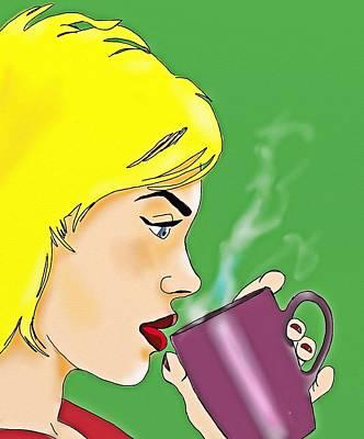 Coffee Drinking Digital Art -  Coffee Break by Helen Bowman