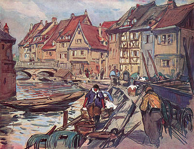 Colmar France Wall Art - Drawing -  Colmar, Alsace  Rue De La Poissonnerie by Mary Evans Picture Library
