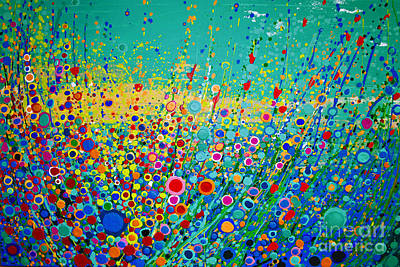 Art Print featuring the painting  Colorful Flowerscape by Maja Sokolowska