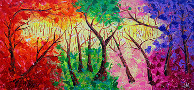 Colorful Mystical Forest Original by Julia Apostolova